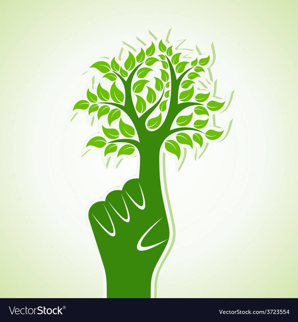 Finger make abstract tree design vector | Price: 1 Credit (USD $1)