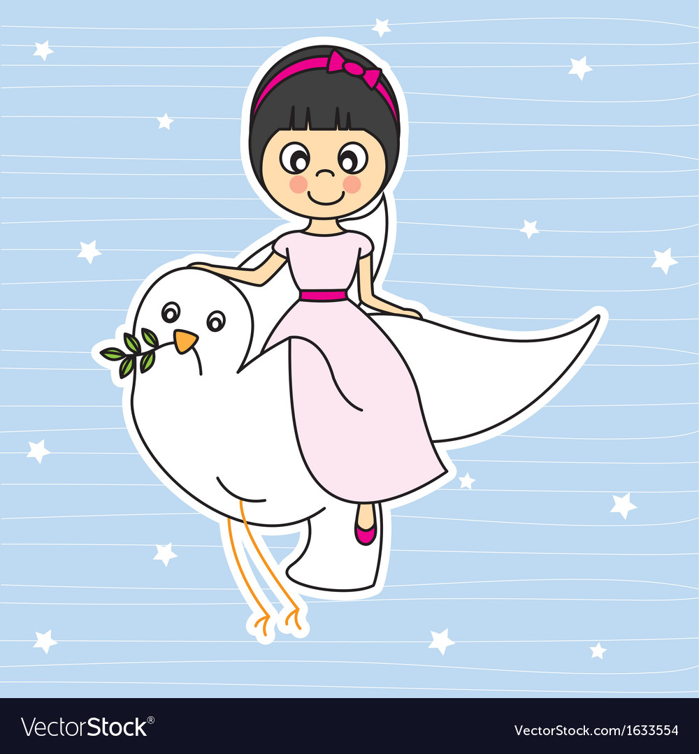 Girl flying with a dove vector | Price: 1 Credit (USD $1)