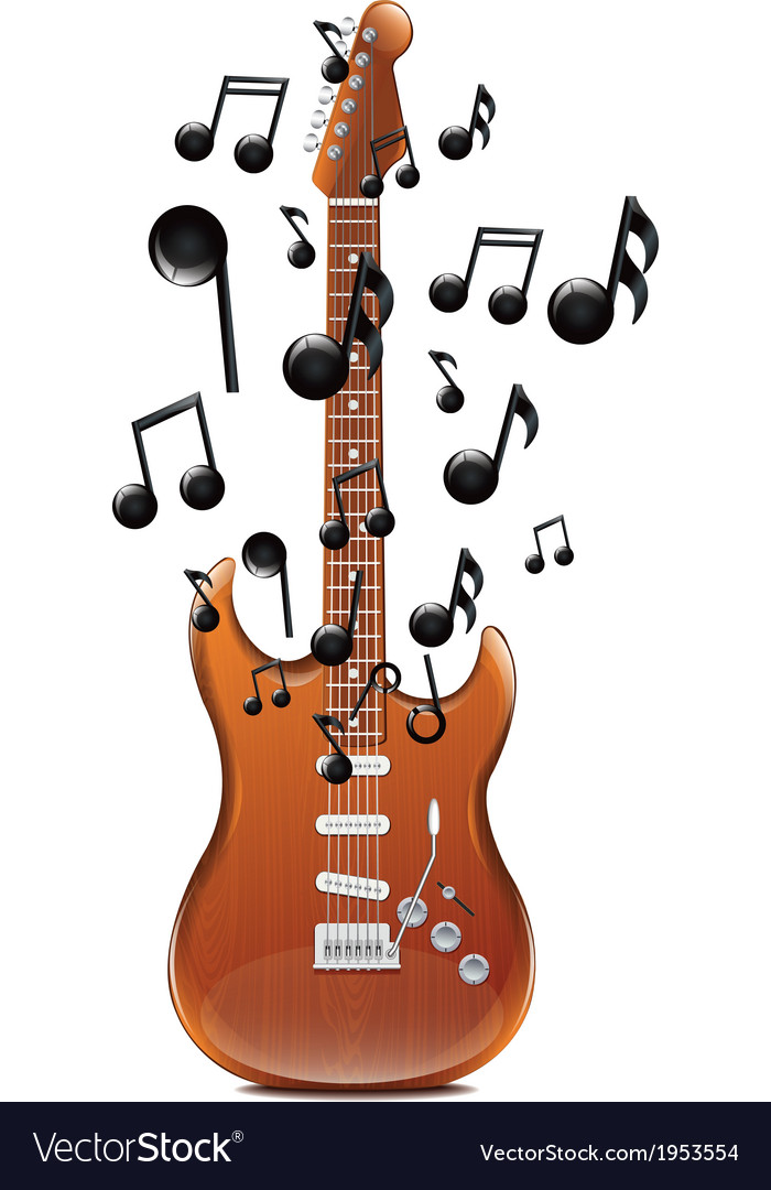 Guitar with melody2 vector | Price: 1 Credit (USD $1)