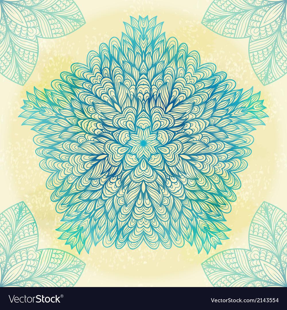 Hand drawn ethnic circular blue ornament vector | Price: 1 Credit (USD $1)
