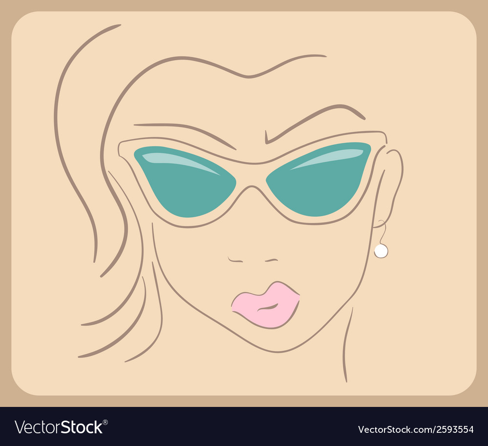 Handdrawn woman face wearing sunglasses close-up - vector | Price: 1 Credit (USD $1)