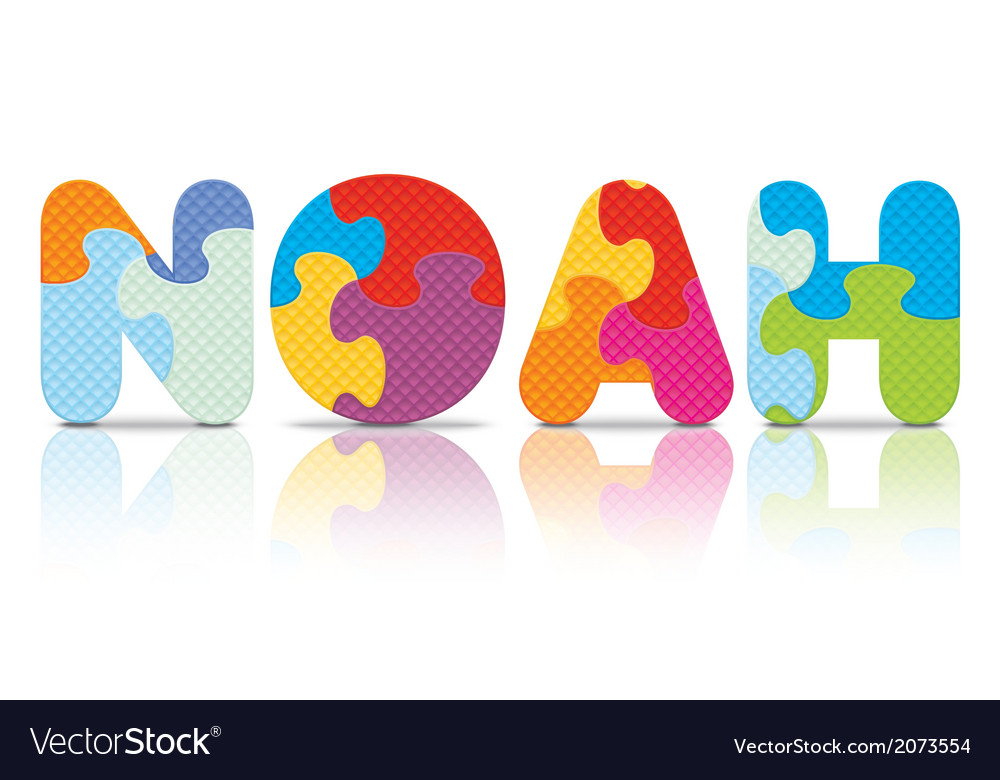 Noah written with alphabet puzzle vector | Price: 1 Credit (USD $1)