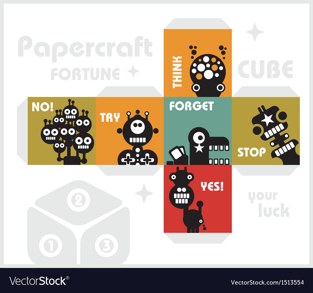 Paper cube with monsters for luck vector | Price: 1 Credit (USD $1)