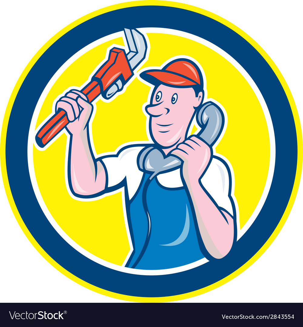 Plumber monkey wrench telephone circle cartoon vector | Price: 1 Credit (USD $1)