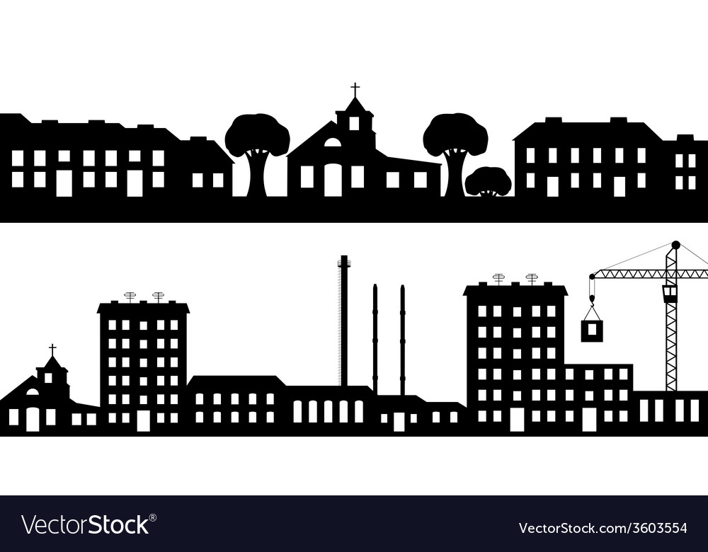 Set of silhouettes cityscapes vector | Price: 1 Credit (USD $1)