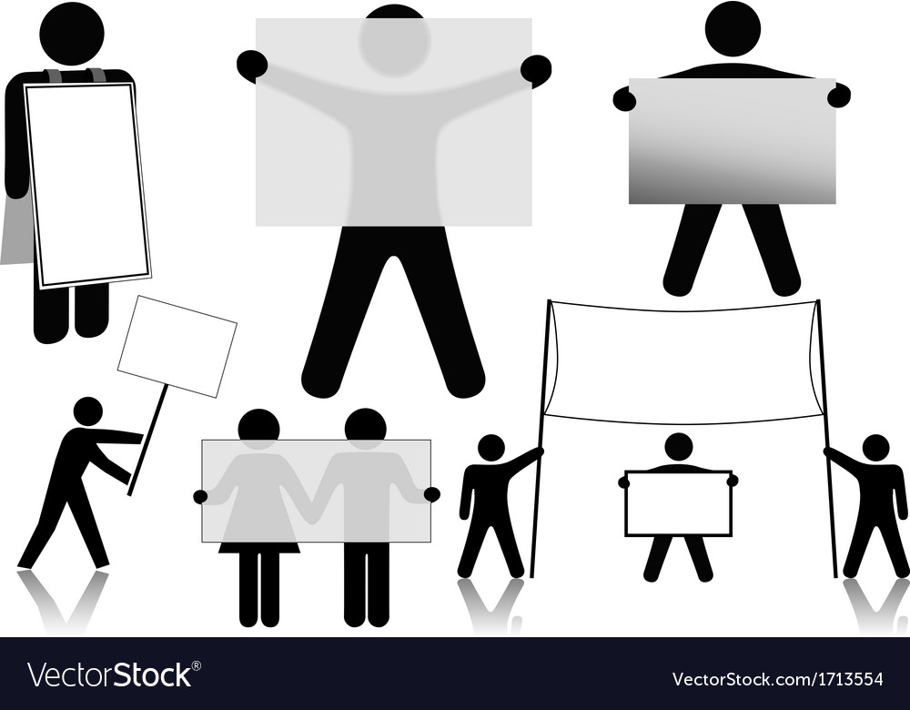 Symbol people hold sign background spaces vector | Price: 1 Credit (USD $1)