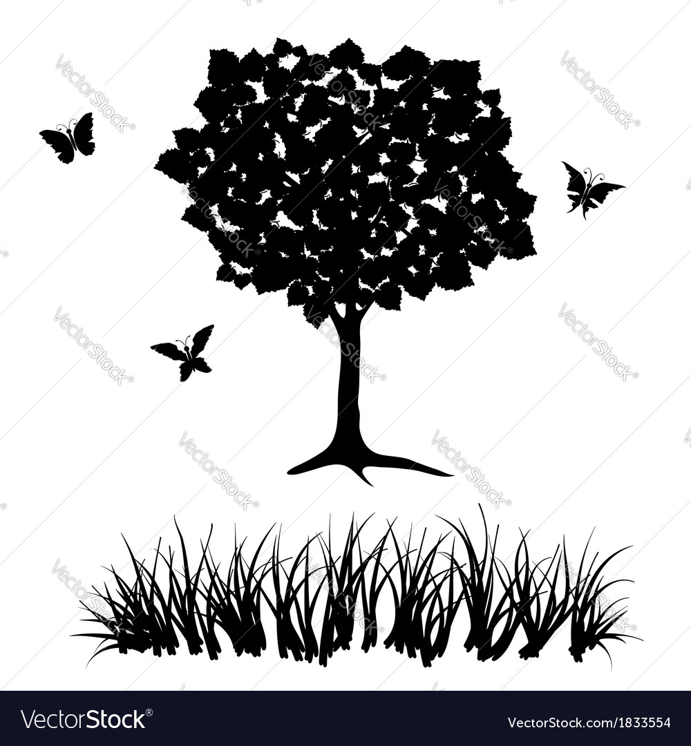 Tree and grass vector | Price: 1 Credit (USD $1)