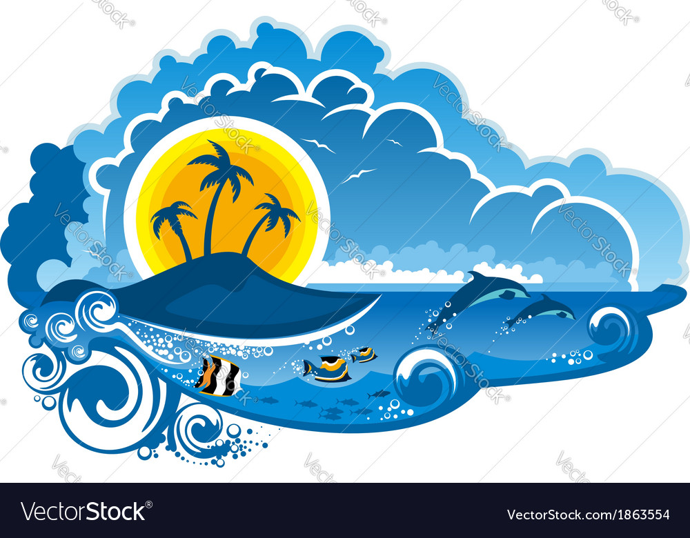 Tropical island paradise vector   Price: 1 Credit (USD $1)