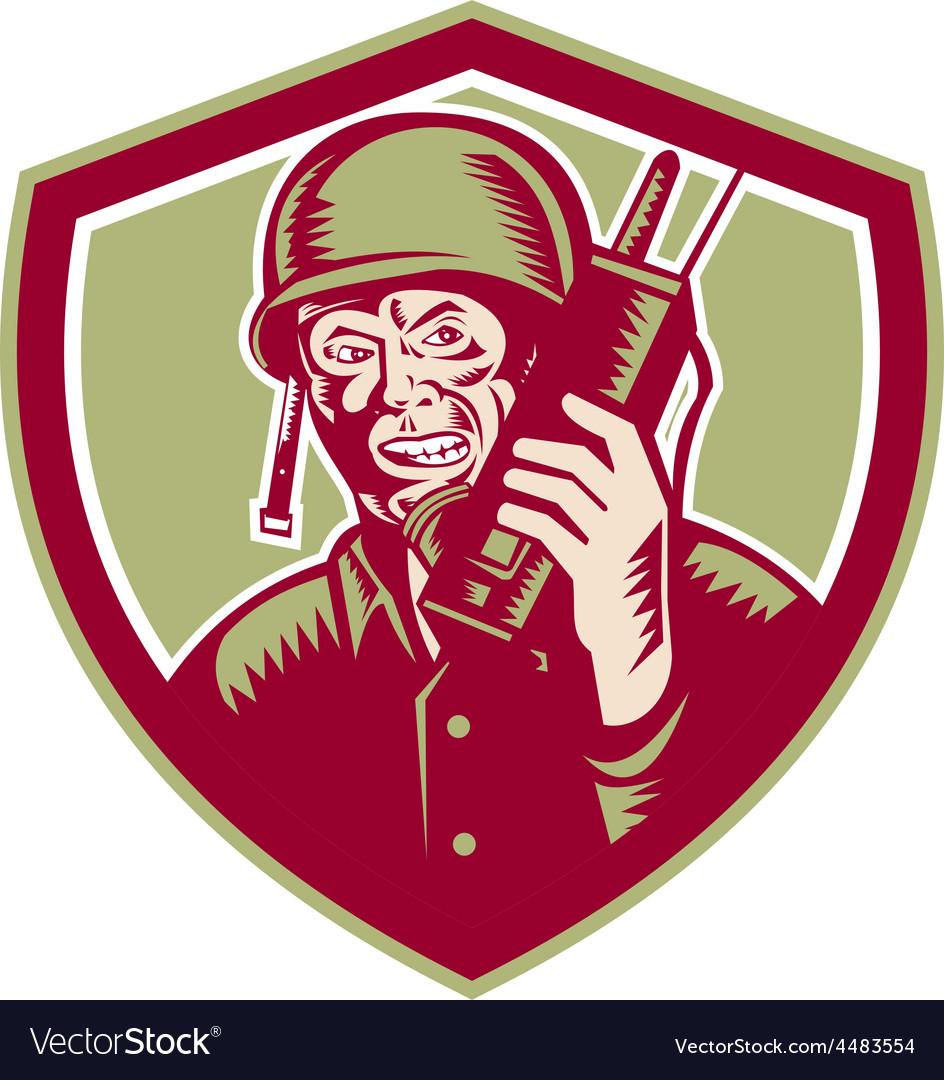 World war two soldier american talk radio crest vector | Price: 1 Credit (USD $1)