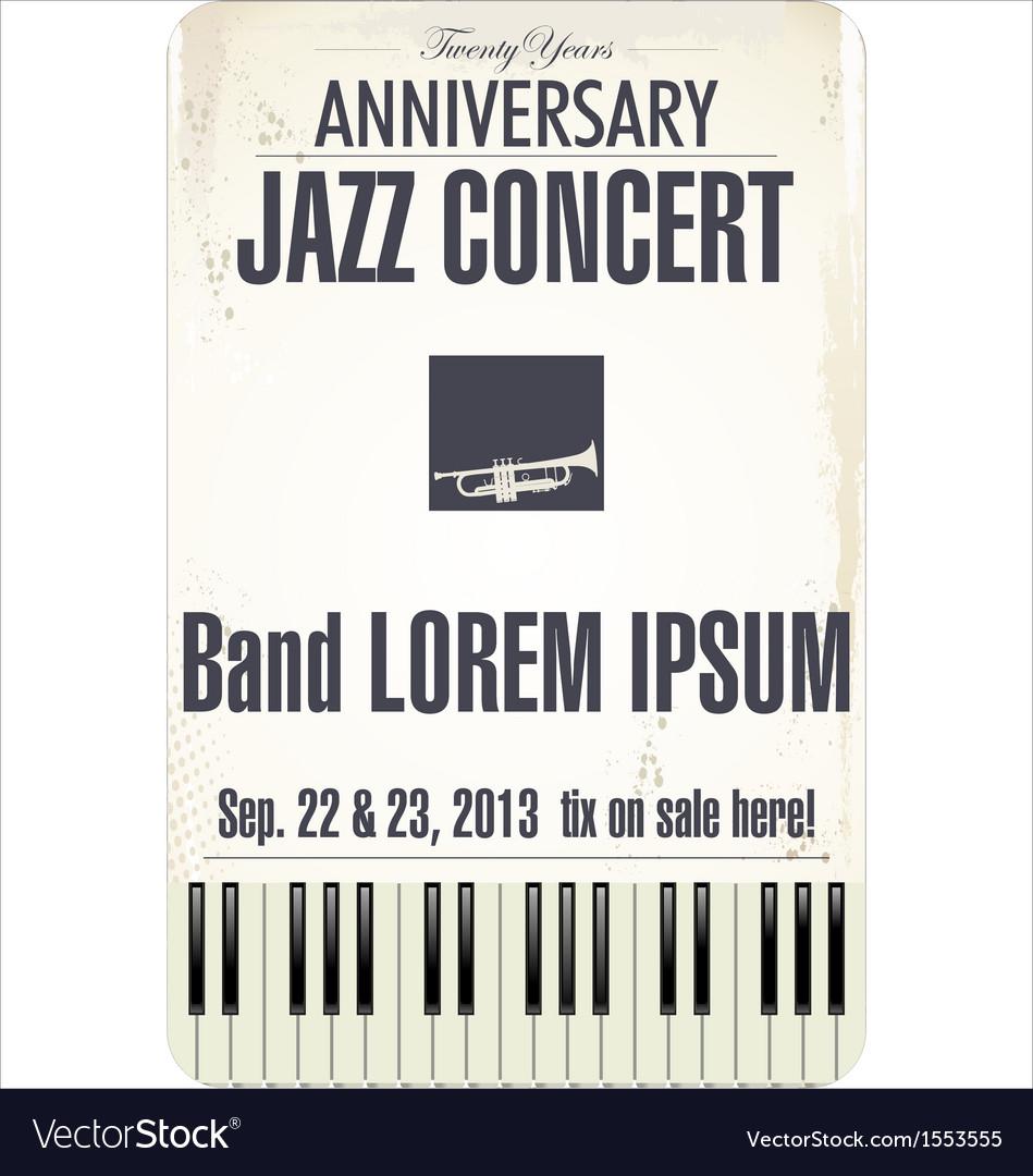 Anniversary jazz concert poster vector | Price: 1 Credit (USD $1)