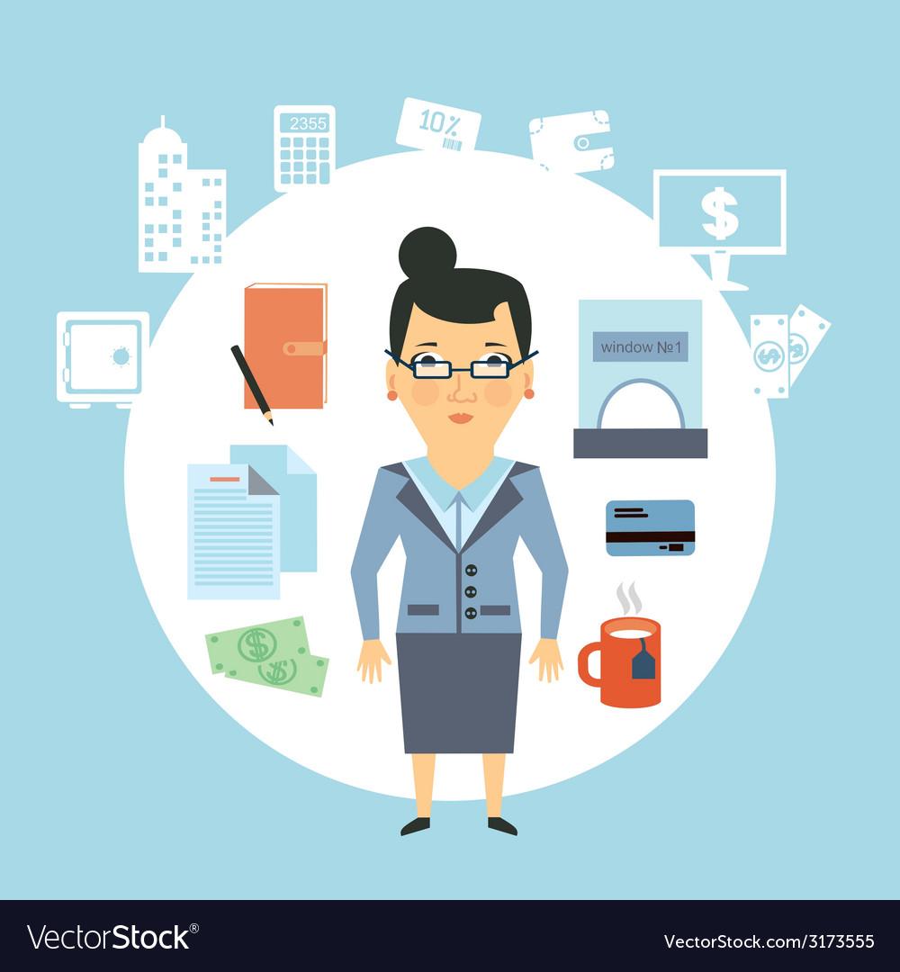 Bank employee vector | Price: 1 Credit (USD $1)
