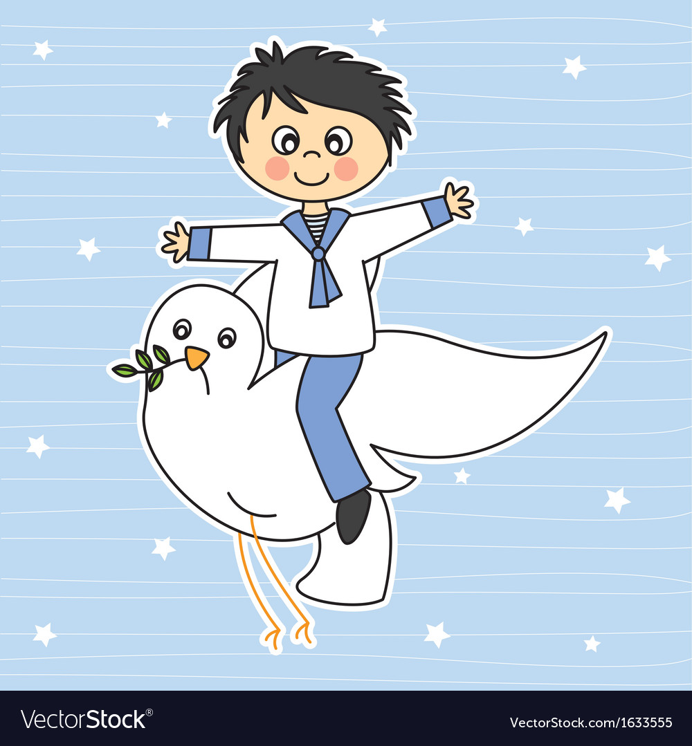 Boy flying with a dove vector | Price: 1 Credit (USD $1)
