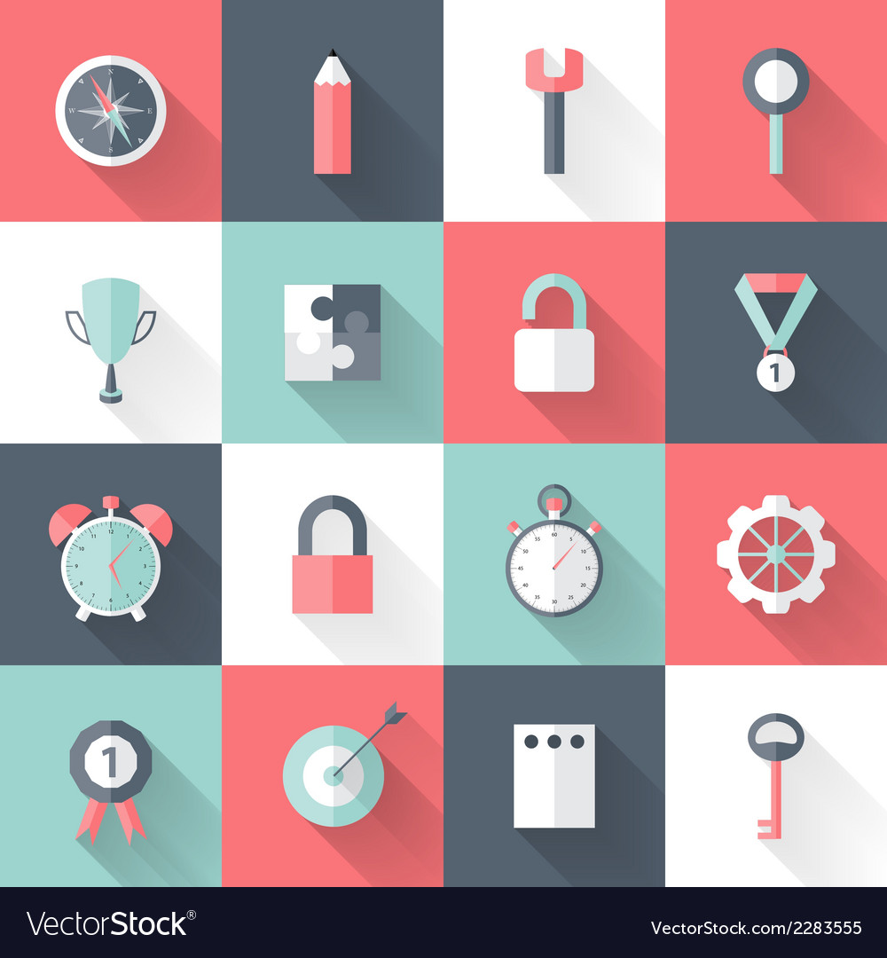 Business flat icons set long shadows vector | Price: 1 Credit (USD $1)