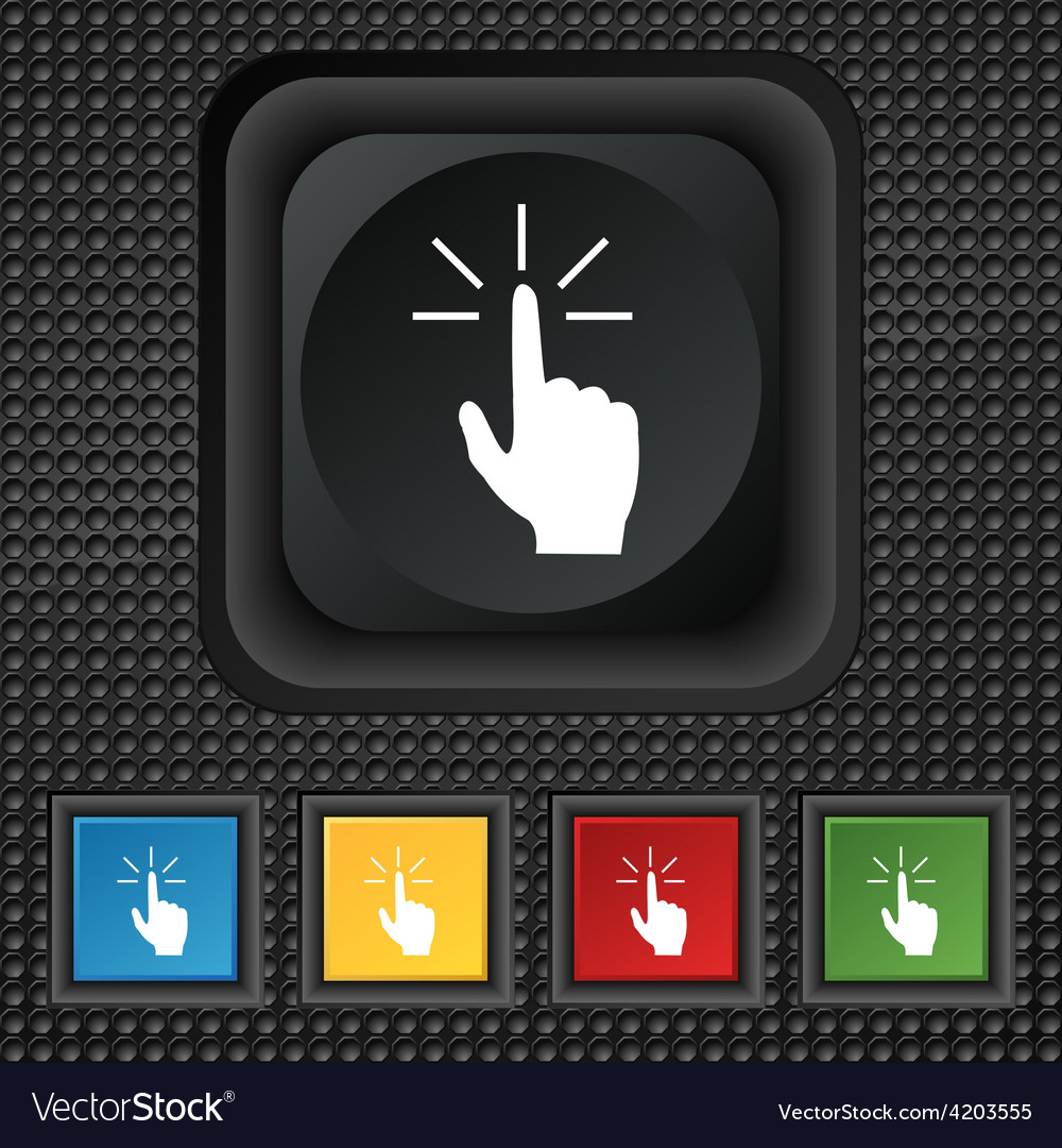 Click here hand icon sign symbol squared colourful vector | Price: 1 Credit (USD $1)