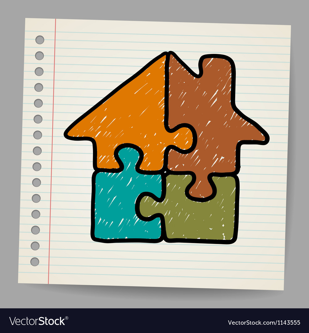 Doodle house from puzzle vector | Price: 1 Credit (USD $1)