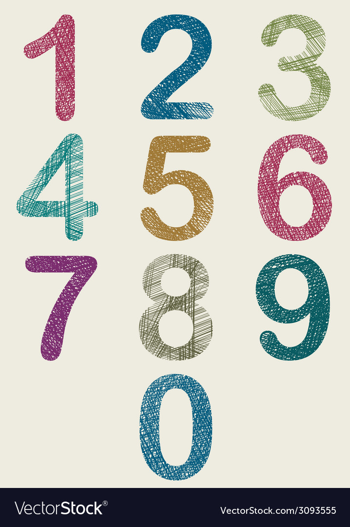 Hand drawn and sketched color numbers set vector | Price: 1 Credit (USD $1)