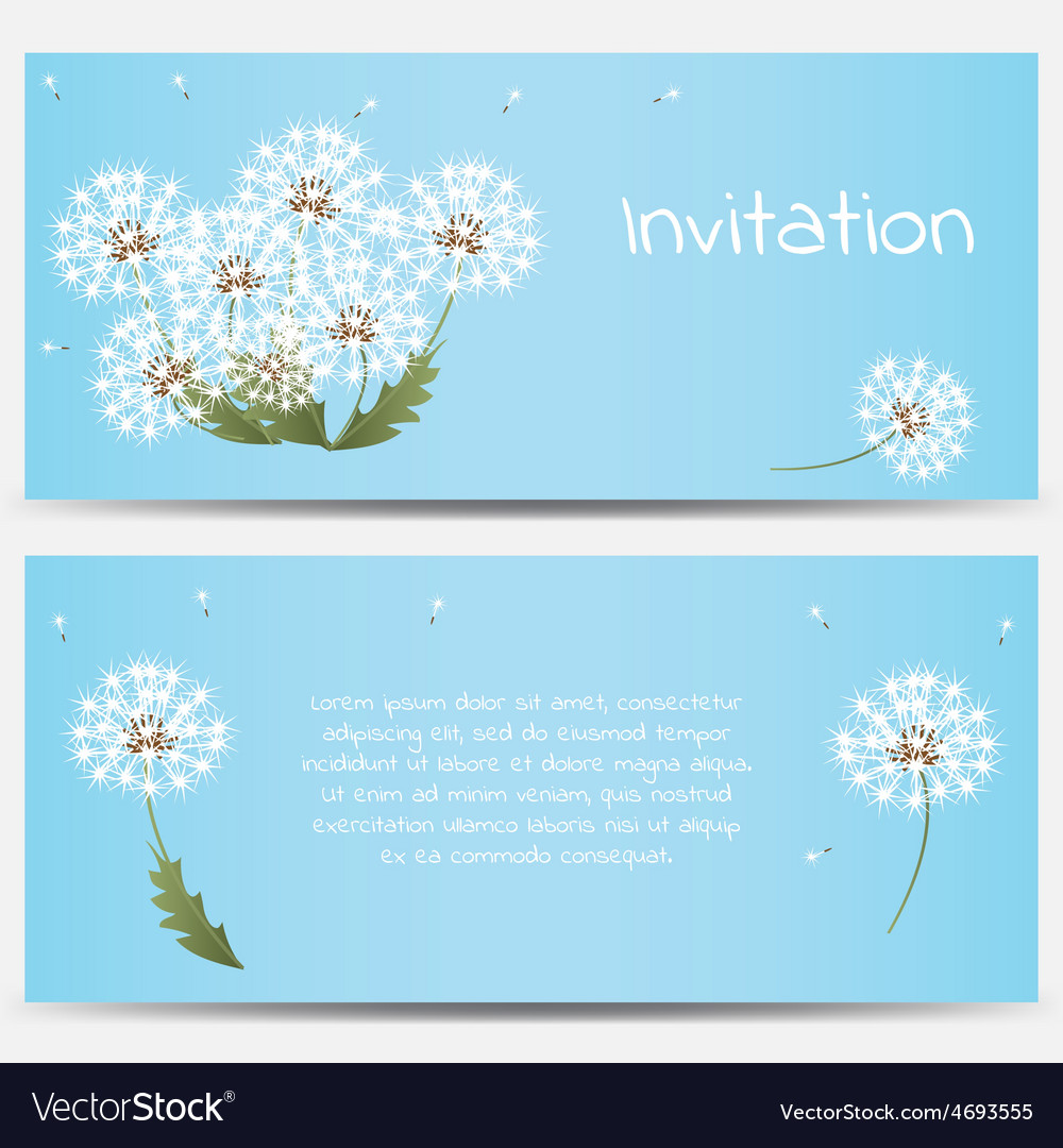Invitation card with dandelions on blue background vector | Price: 1 Credit (USD $1)