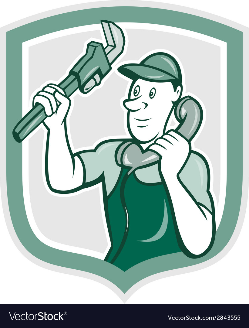 Plumber monkey wrench telephone shield cartoon vector | Price: 1 Credit (USD $1)
