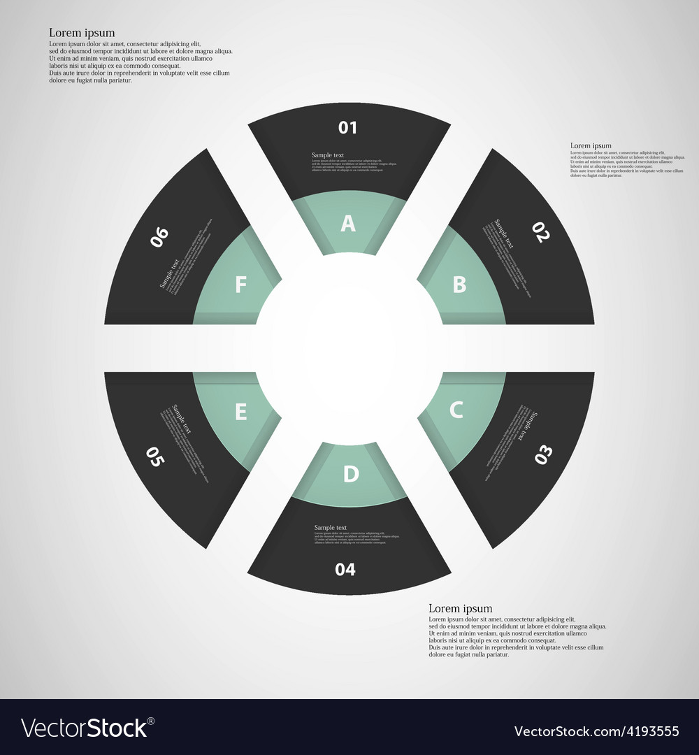 Ring from six parts on light background vector   Price: 1 Credit (USD $1)