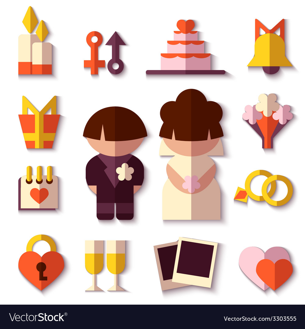 Save the date set flat design vector   Price: 1 Credit (USD $1)