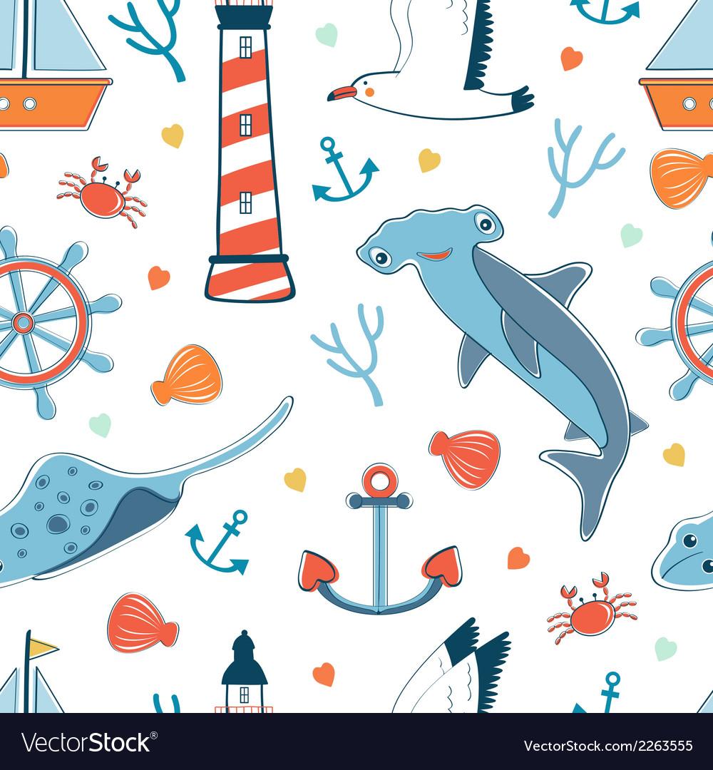 Sea seamless pattern vector | Price: 1 Credit (USD $1)