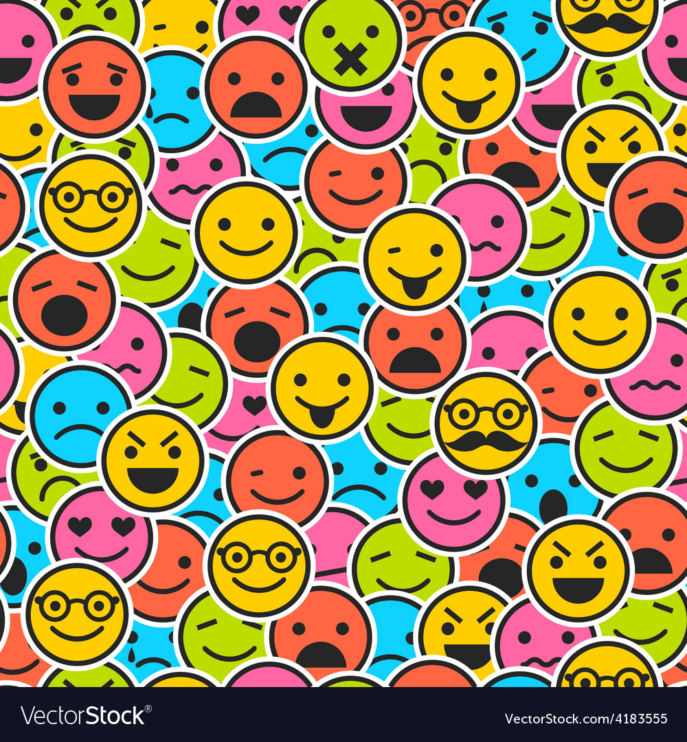 Seamless pattern with color emoticons vector | Price: 1 Credit (USD $1)