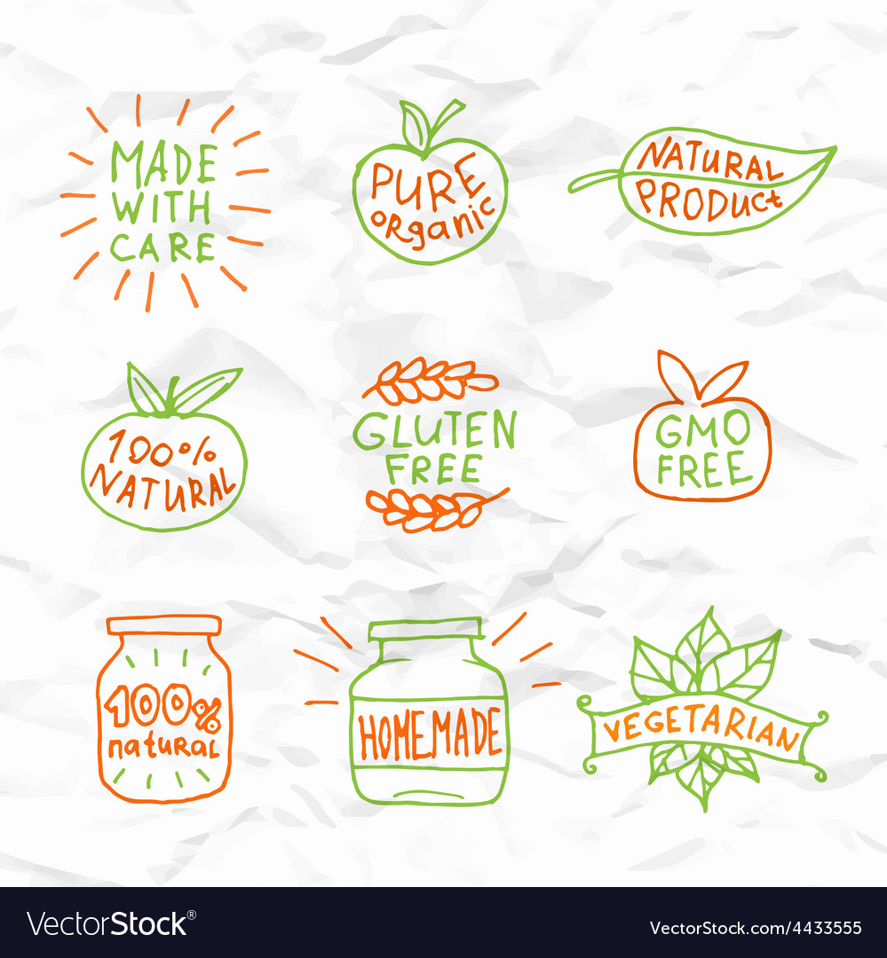 Set of hand drawn natural badges and labels vector | Price: 1 Credit (USD $1)