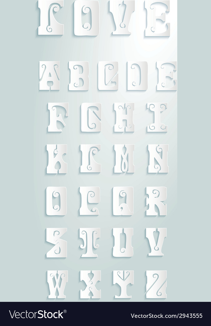 Set of retor letters vector | Price: 1 Credit (USD $1)