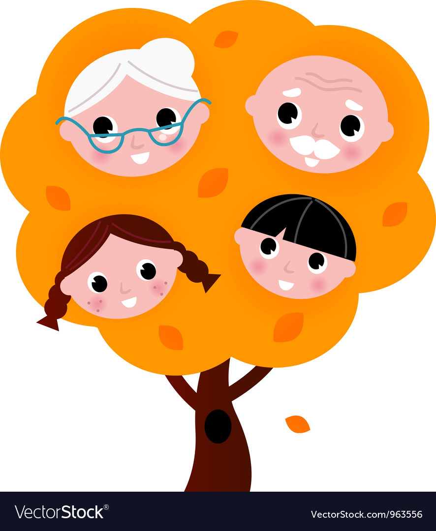 Autumn family tree vector | Price: 1 Credit (USD $1)