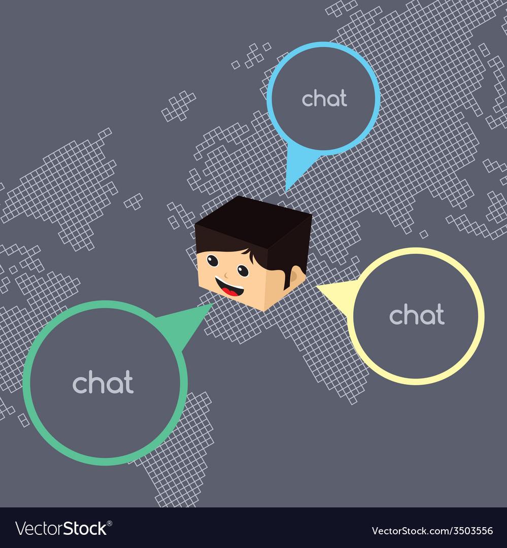 Block isometric cartoon chat vector | Price: 1 Credit (USD $1)