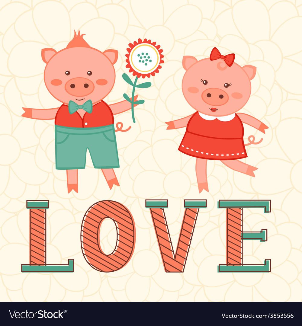 Cute card with two pigs in love vector | Price: 1 Credit (USD $1)