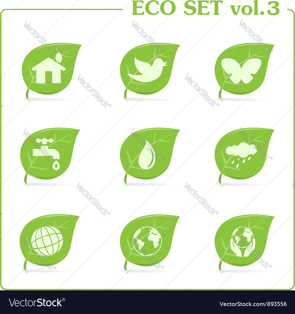 Ecology icon set vol 3 vector | Price: 1 Credit (USD $1)