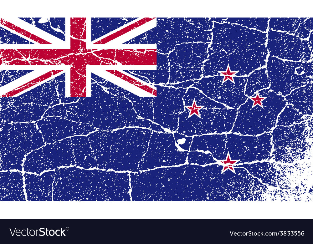 Flag of new zeland with old texture vector | Price: 1 Credit (USD $1)