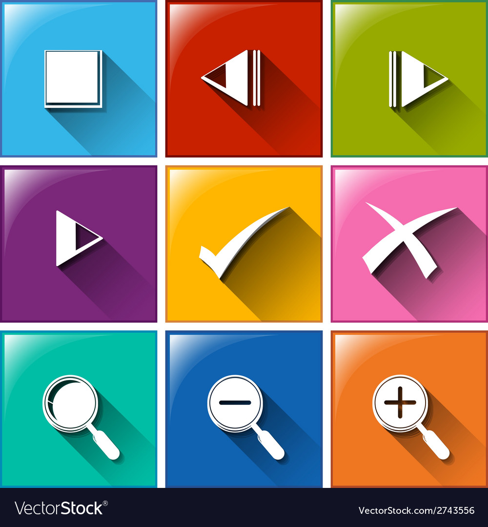Icons with different symbols vector | Price: 1 Credit (USD $1)