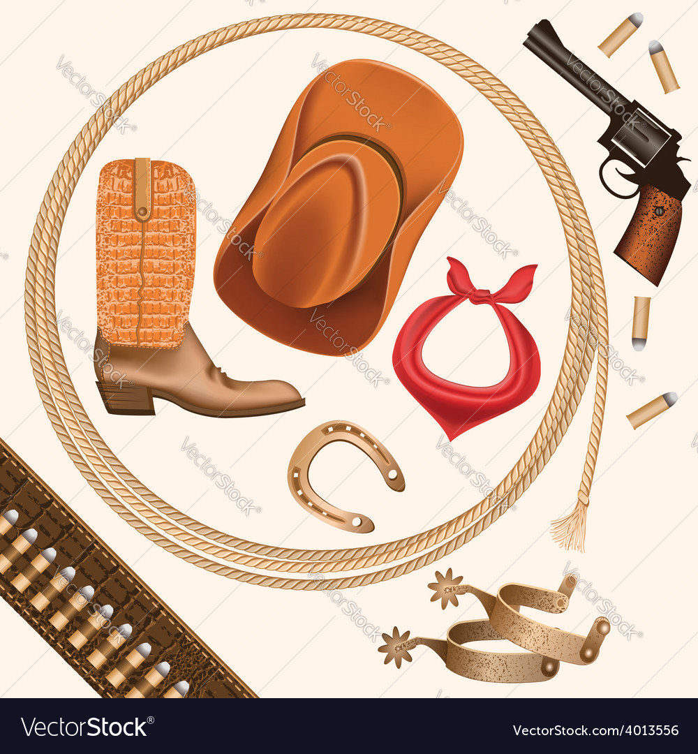 Set of wild west cowboy objects isolated on white vector | Price: 1 Credit (USD $1)