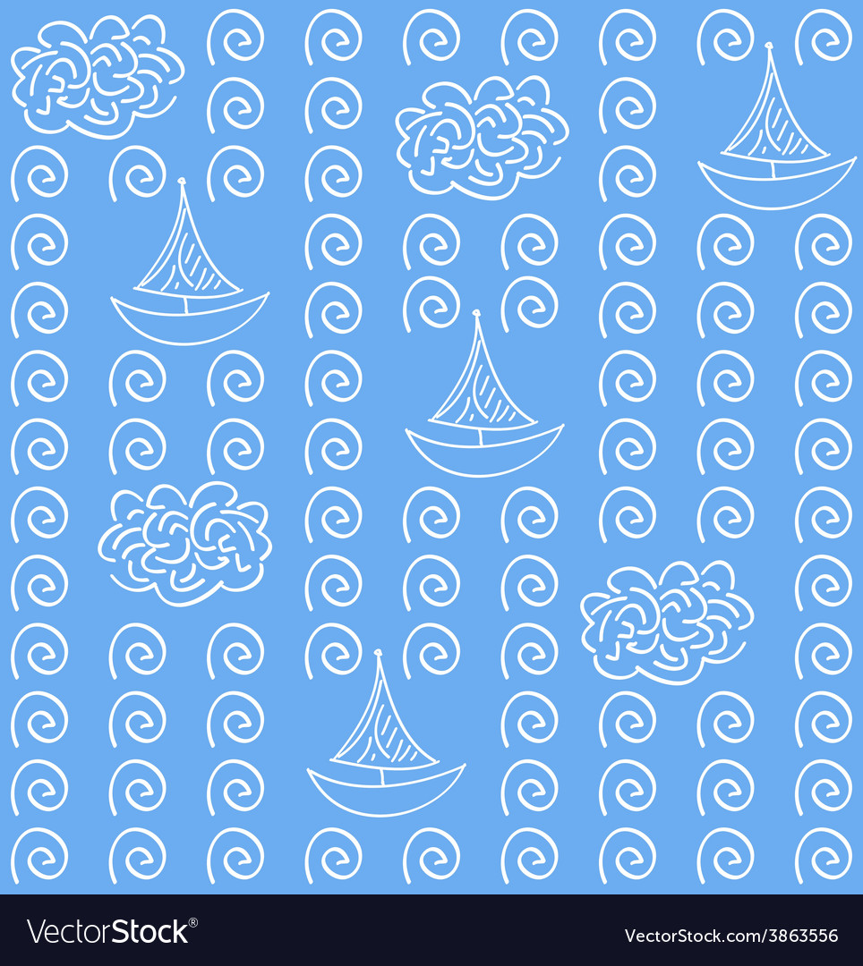 Watercolor blue color seamless pattern vector | Price: 1 Credit (USD $1)