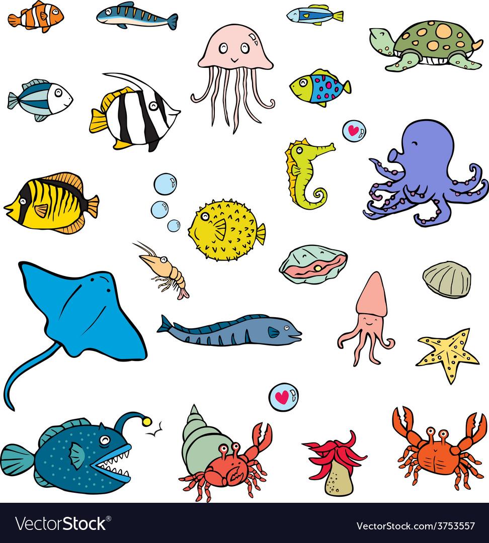 Aquatic animals vector | Price: 1 Credit (USD $1)