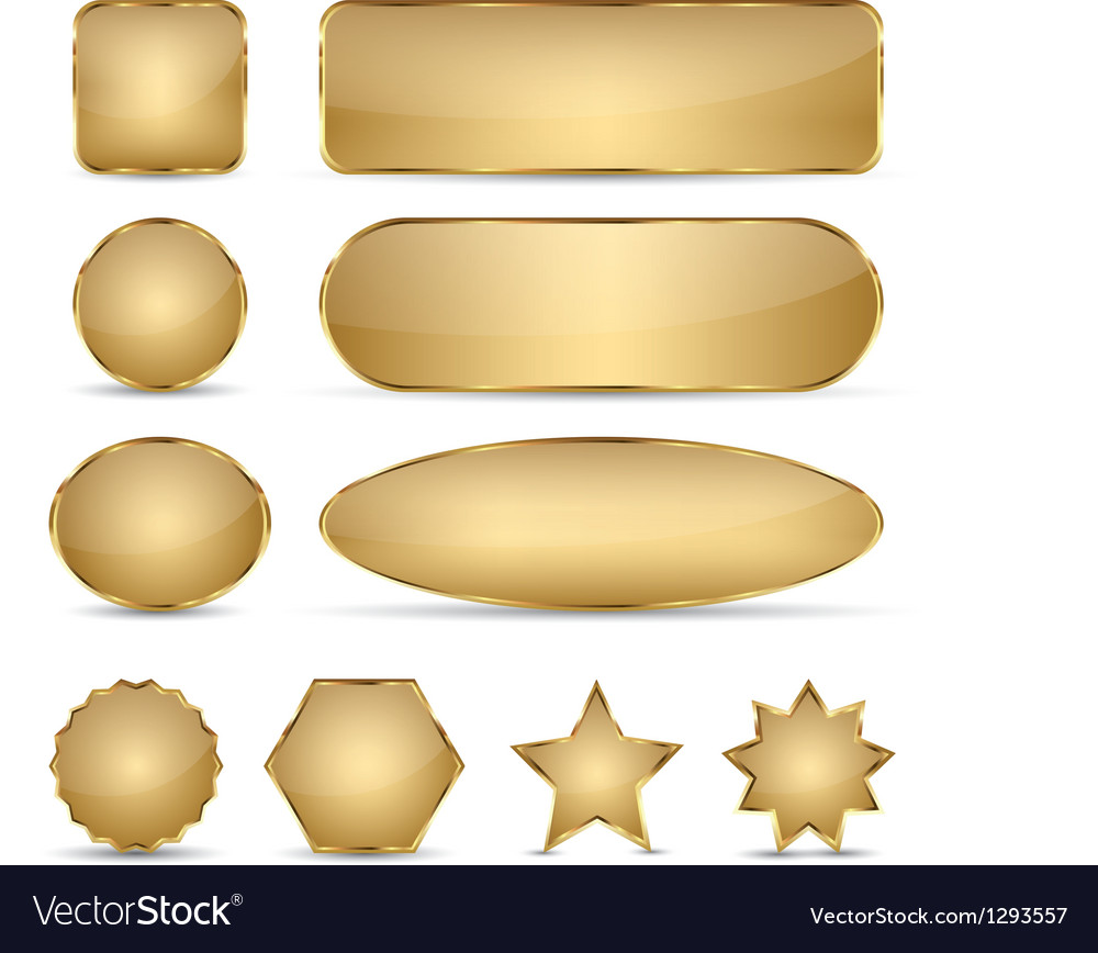 Blank elegant golden buttons vector | Price: 1 Credit (USD $1)