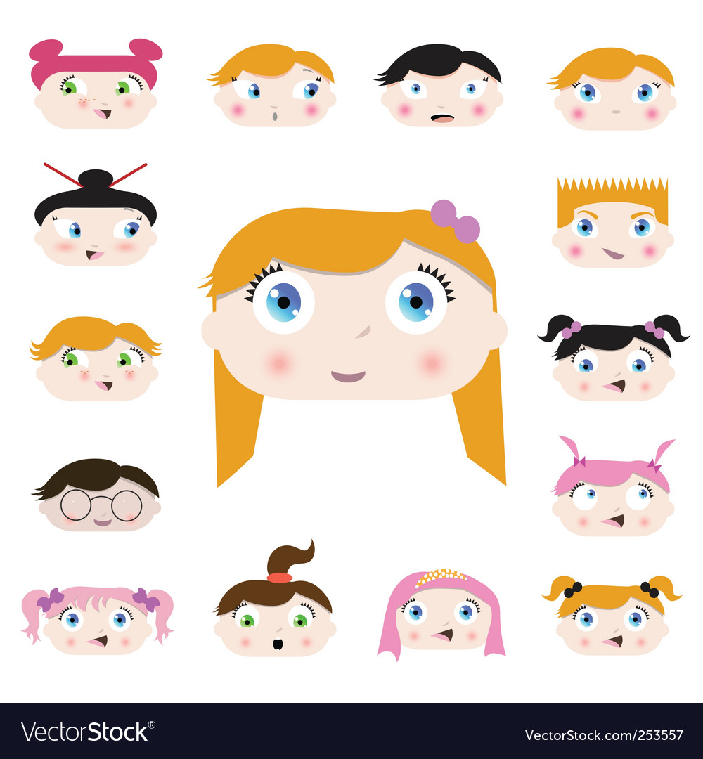 Cartoon kids face vector | Price: 1 Credit (USD $1)