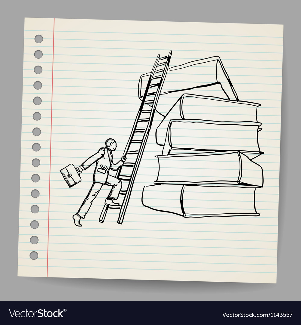 Doodle businessman with wooden ladder standing vector | Price: 1 Credit (USD $1)