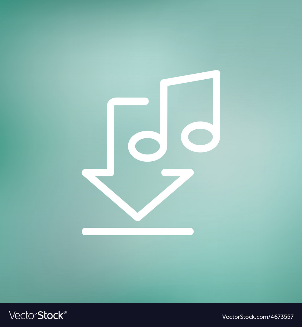 Downloaded music thin line icon vector | Price: 1 Credit (USD $1)