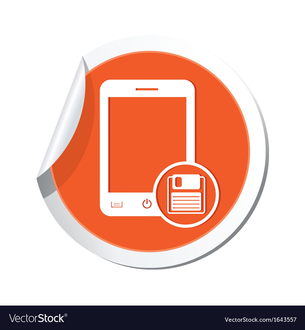 Phone save icon orange sticker vector | Price: 1 Credit (USD $1)