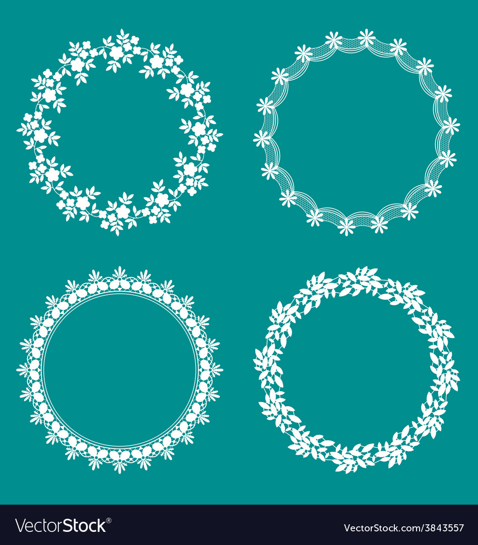 Round decorative lace borders frames vector | Price: 1 Credit (USD $1)