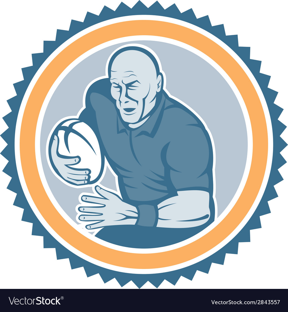 Rugby player running ball rosette cartoon vector | Price: 1 Credit (USD $1)