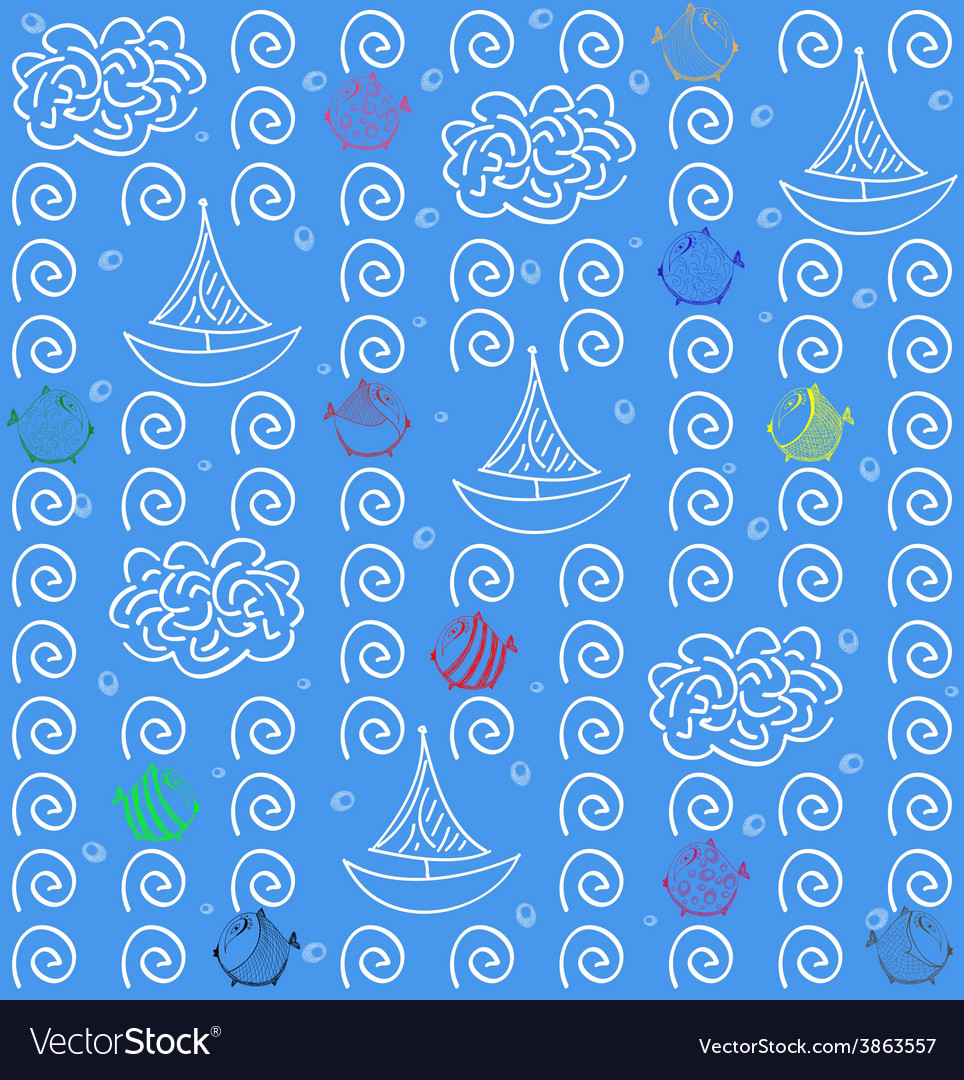 Seamless pattern background blue fish and ship vector | Price: 1 Credit (USD $1)