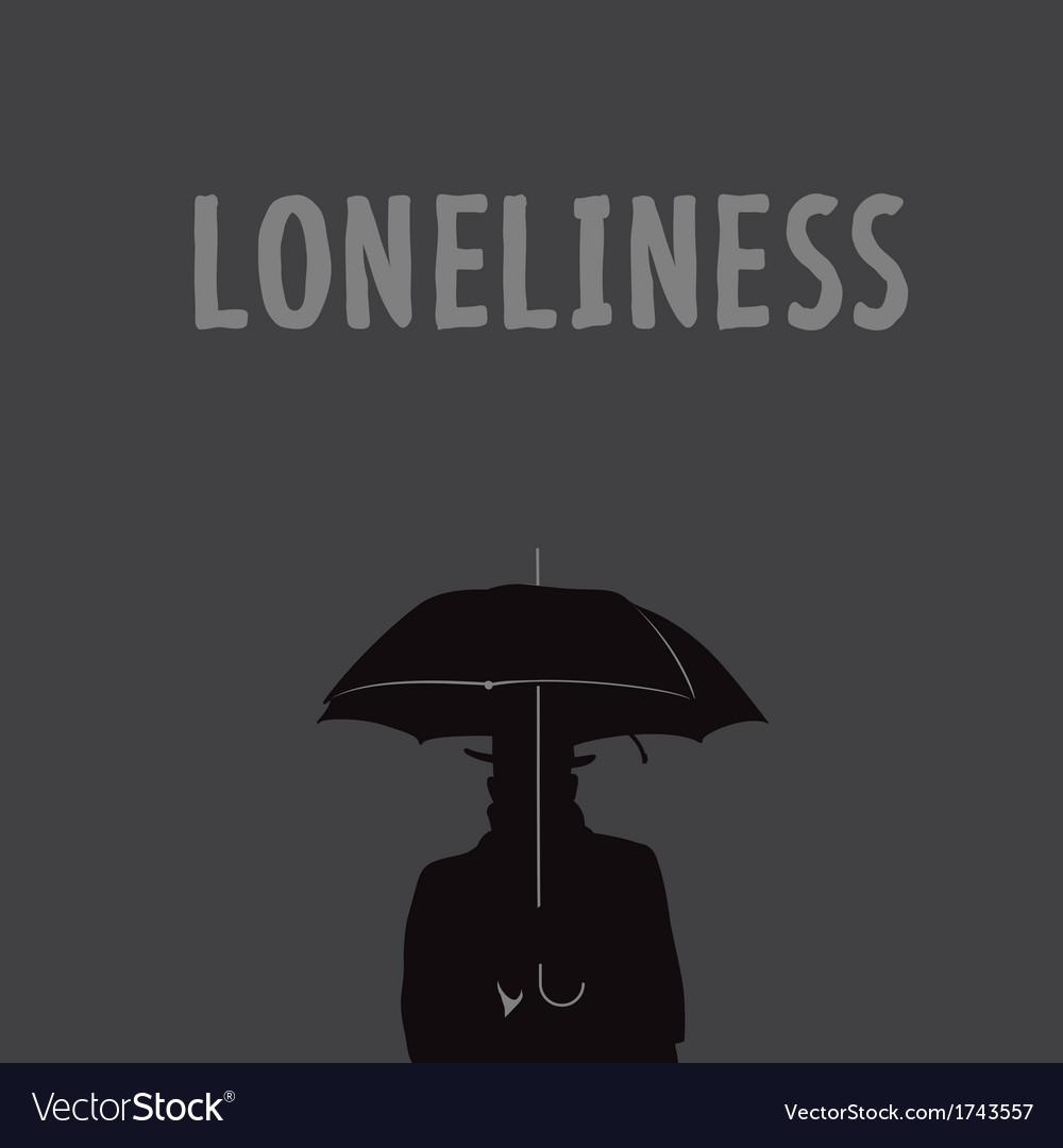Silhouette of the lonely man under an umbrella vector | Price: 1 Credit (USD $1)