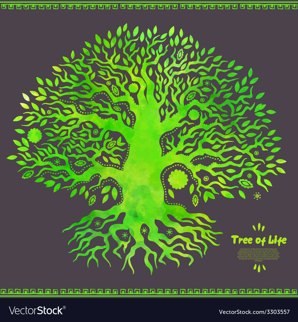 Unique watercolor ethnic tree of life vector | Price: 1 Credit (USD $1)
