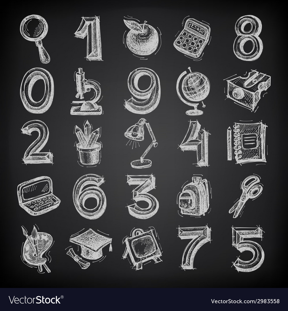 25 sketch education icons numbers and objects on vector | Price: 1 Credit (USD $1)