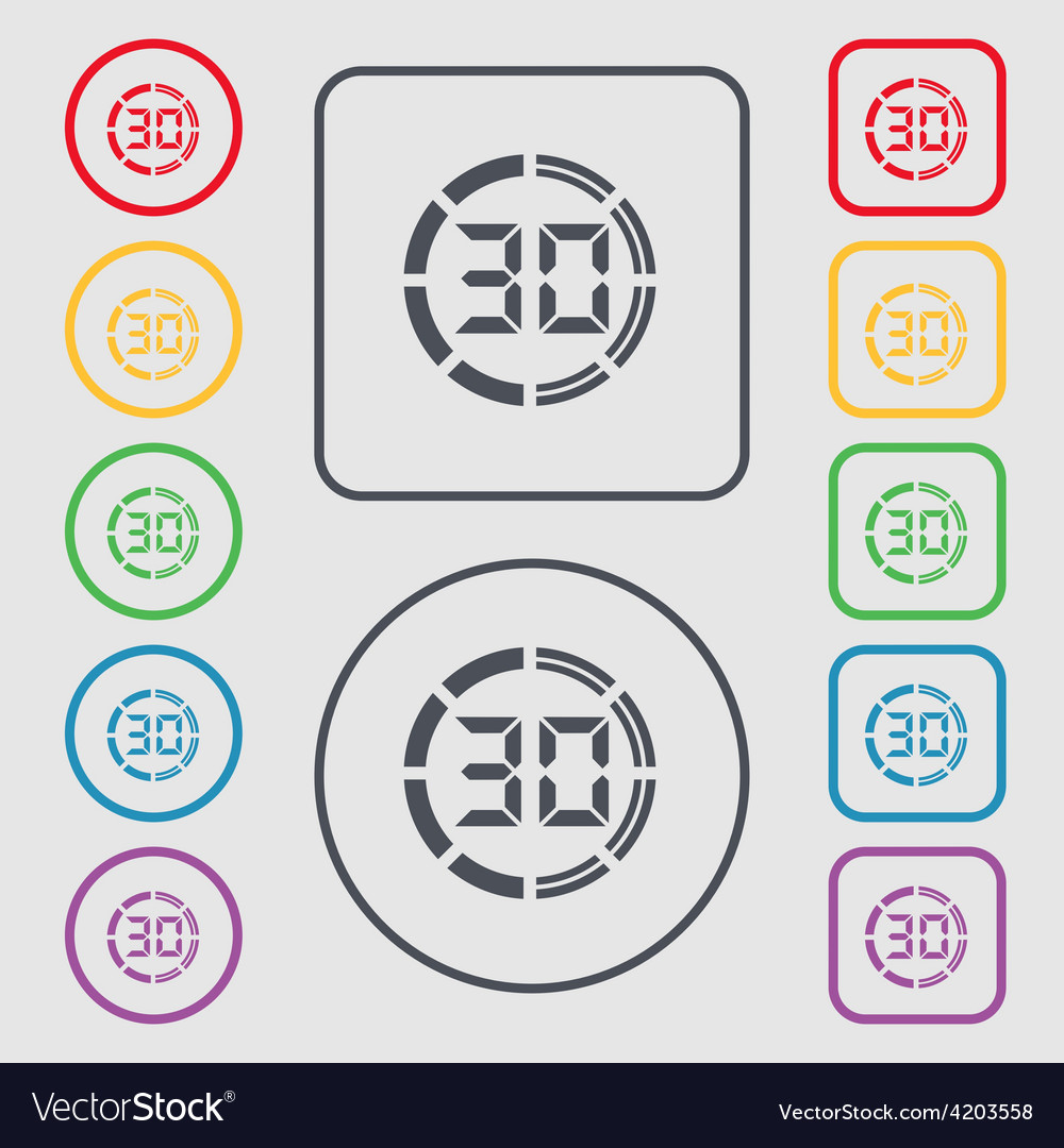 30 second stopwatch icon sign symbol on the round vector | Price: 1 Credit (USD $1)