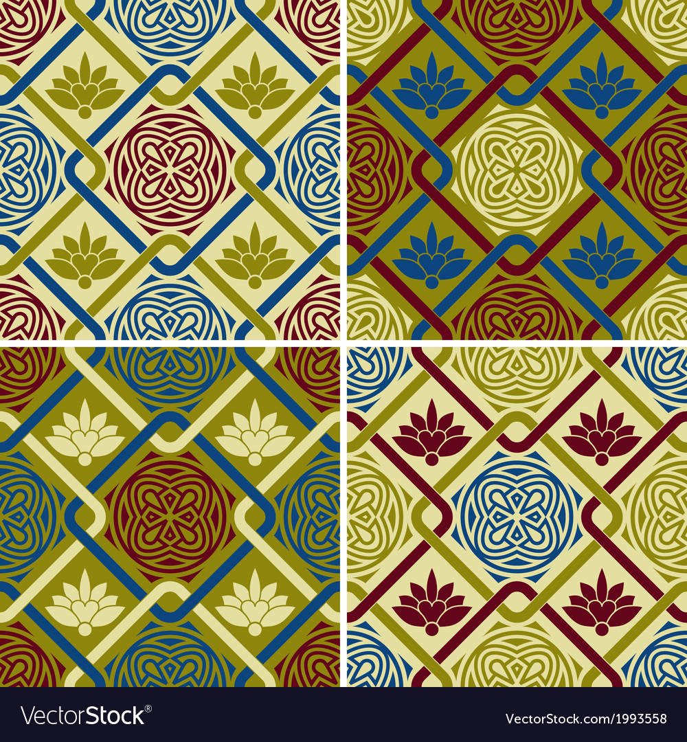 4 seamless patterns in eastern style vector | Price: 1 Credit (USD $1)